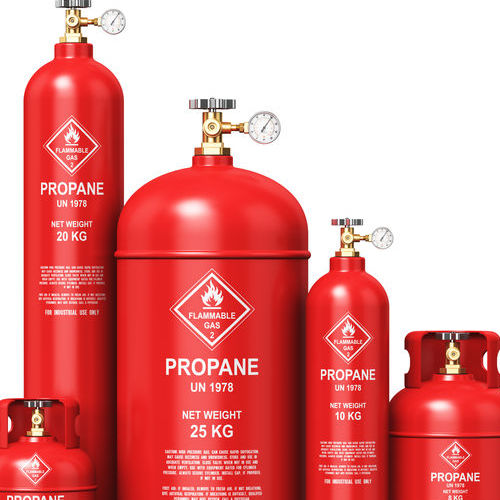 Propane Tanks of Varying Sizes.