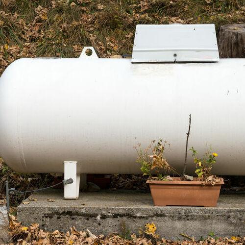 A Propane Tank in a Garden.